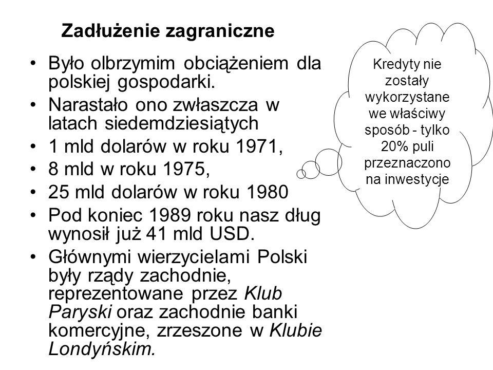 Zadłużenie zagraniczne Było olbrzymim obciążeniem dla polskiej gospodarki. Narastało ono zwłaszcza w latach siedemdziesiątych 1 mld dolarów w roku 197