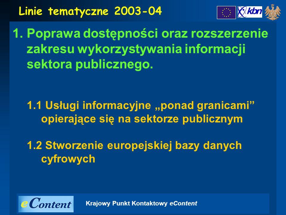Krajowy Punkt Kontaktowy eContent 1.Poprawa dostępności oraz rozszerzenie zakresu wykorzystywania informacji sektora publicznego.