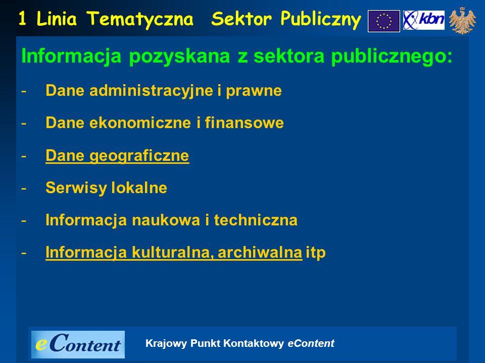 Krajowy Punkt Kontaktowy eContent Informacja pozyskana z sektora publicznego: -Dane administracyjne i prawne -Dane ekonomiczne i finansowe -Dane geograficzne -Serwisy lokalne -Informacja naukowa i techniczna -Informacja kulturalna, archiwalna itp 1 Linia TematycznaSektor Publiczny