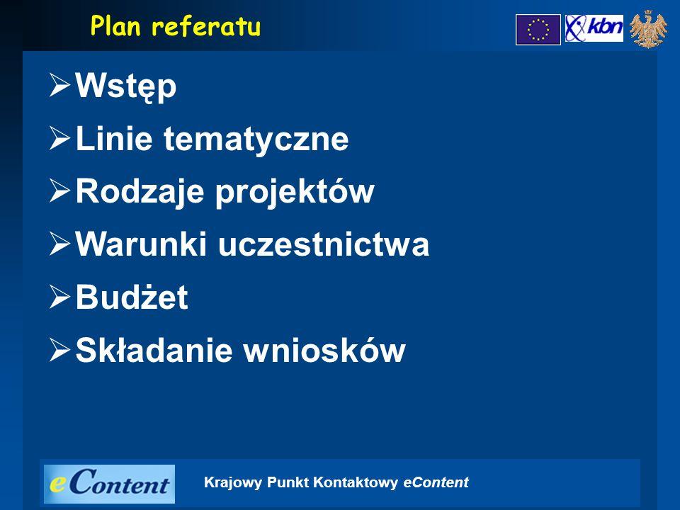 Krajowy Punkt Kontaktowy eContent  Wstęp  Linie tematyczne  Rodzaje projektów  Warunki uczestnictwa  Budżet  Składanie wniosków Plan referatu