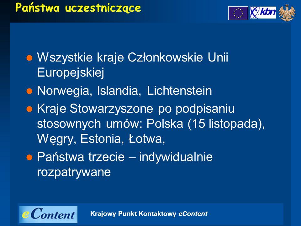 Krajowy Punkt Kontaktowy eContent Państwa uczestniczące Wszystkie kraje Członkowskie Unii Europejskiej Norwegia, Islandia, Lichtenstein Kraje Stowarzyszone po podpisaniu stosownych umów: Polska (15 listopada), Węgry, Estonia, Łotwa, Państwa trzecie – indywidualnie rozpatrywane