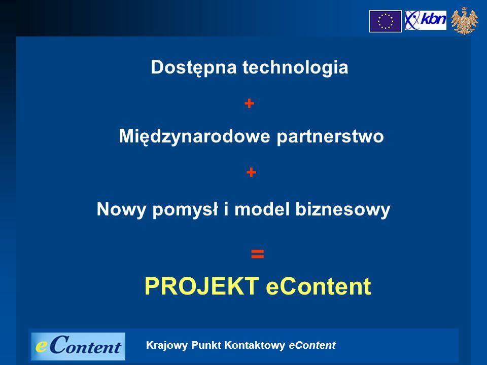 Krajowy Punkt Kontaktowy eContent = PROJEKT eContent Dostępna technologia + Międzynarodowe partnerstwo + Nowy pomysł i model biznesowy
