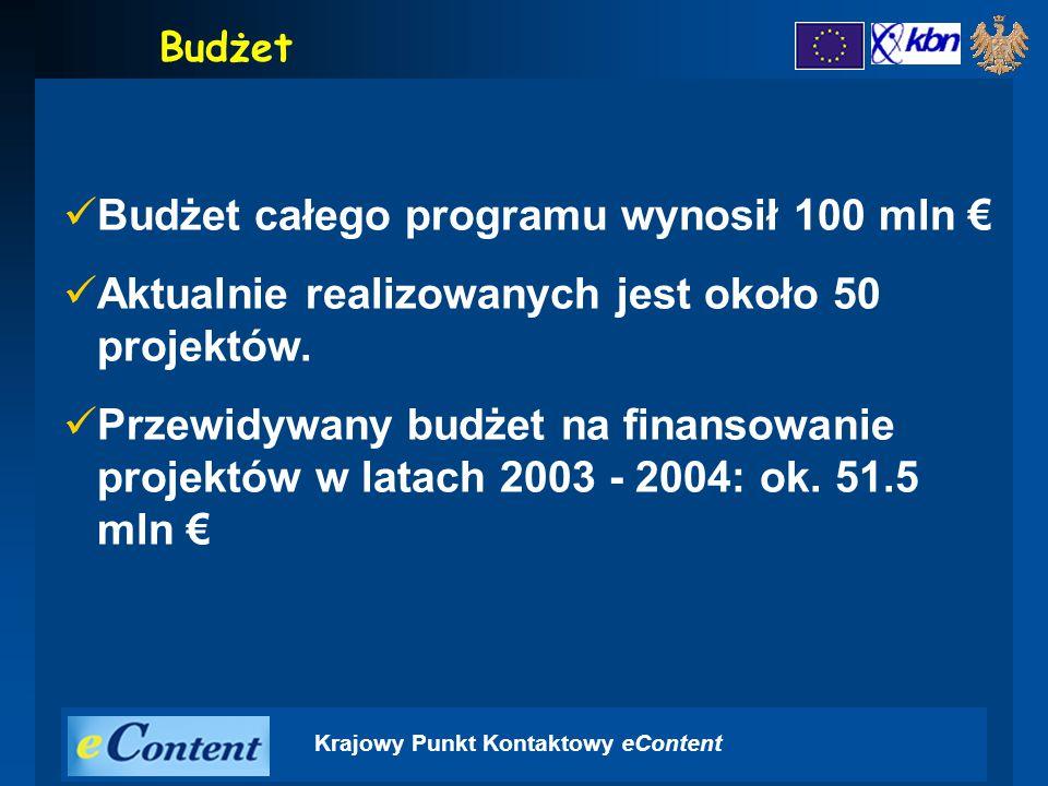 Krajowy Punkt Kontaktowy eContent Budżet Budżet całego programu wynosił 100 mln € Aktualnie realizowanych jest około 50 projektów.