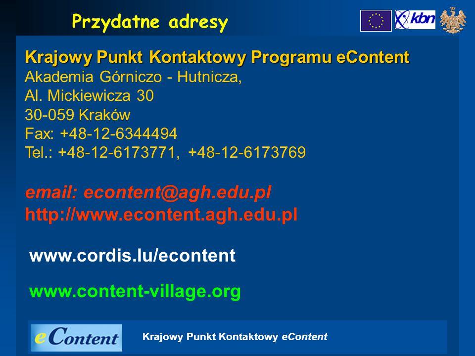 Krajowy Punkt Kontaktowy Programu eContent Akademia Górniczo - Hutnicza, Al.
