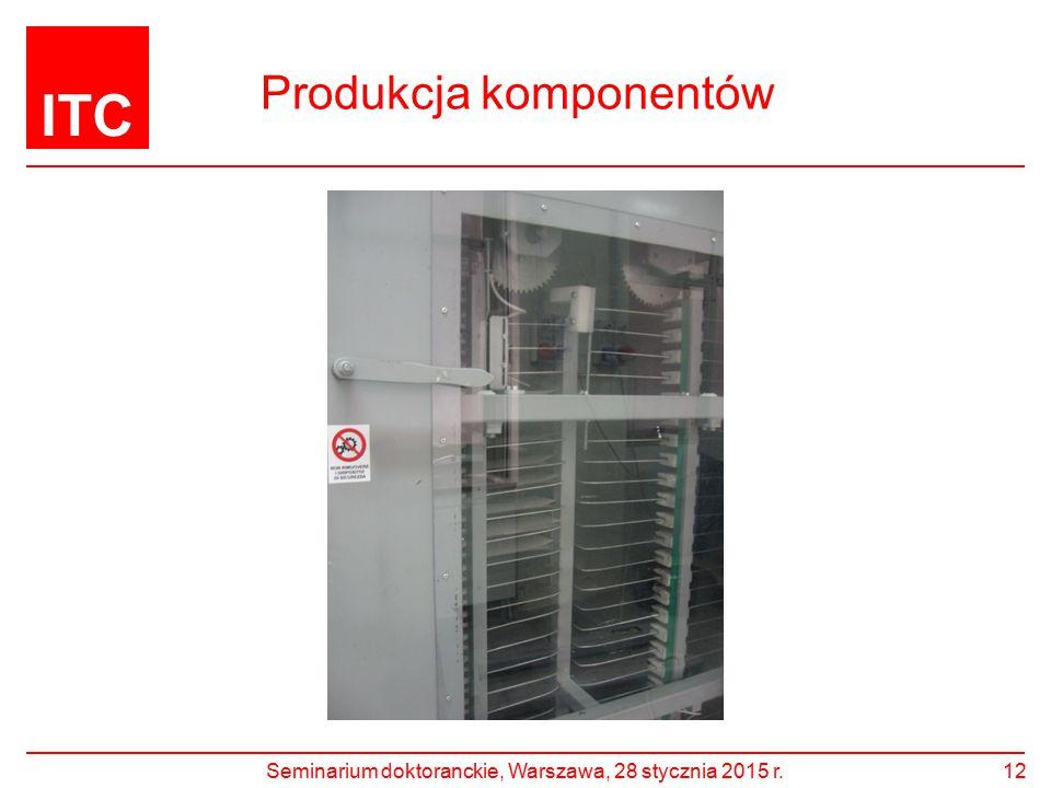 ITC Produkcja komponentów Seminarium doktoranckie, Warszawa, 28 stycznia 2015 r.12