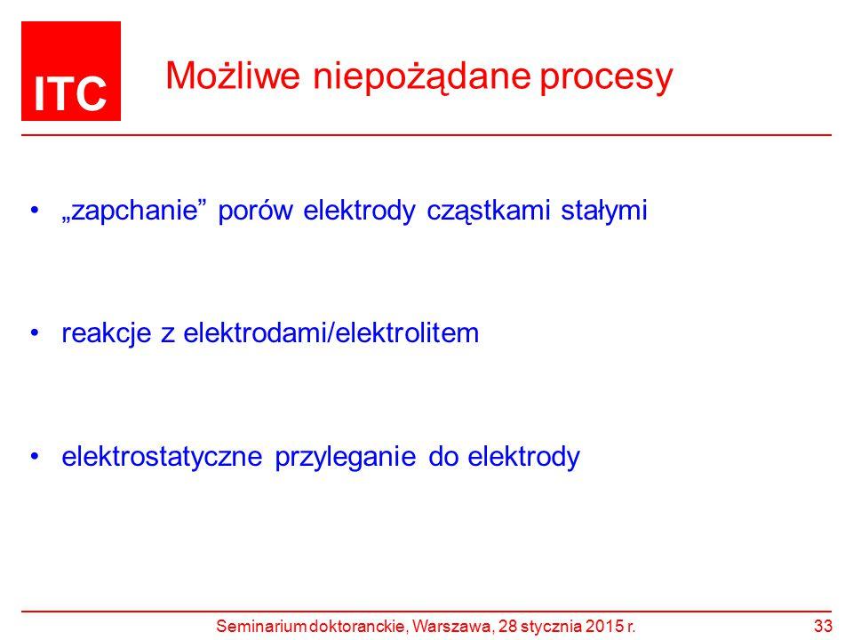 """ITC Możliwe niepożądane procesy 33 """"zapchanie"""" porów elektrody cząstkami stałymi reakcje z elektrodami/elektrolitem elektrostatyczne przyleganie do el"""