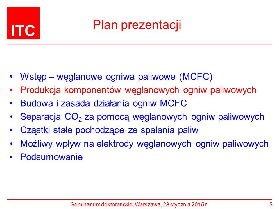 ITC Plan prezentacji Wstęp – węglanowe ogniwa paliwowe (MCFC) Produkcja komponentów węglanowych ogniw paliwowych Budowa i zasada działania ogniw MCFC Separacja CO 2 za pomocą węglanowych ogniw paliwowych Cząstki stałe pochodzące ze spalania paliw Możliwy wpływ na elektrody węglanowych ogniw paliwowych Podsumowanie Seminarium doktoranckie, Warszawa, 28 stycznia 2015 r.16