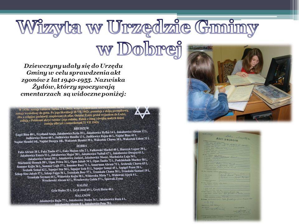 Ustalono, że na poszczególnych cmentarzach spoczywa: 1.Dobra22 Żydów 2.Bochnia 2 3.Nowy Czachulec23 4.Łódź 7 5.Majdanek 2 6.Poznań 1 5 maja 1949 roku 167 Żydów wyjechało do niemieckich obozów pracy.