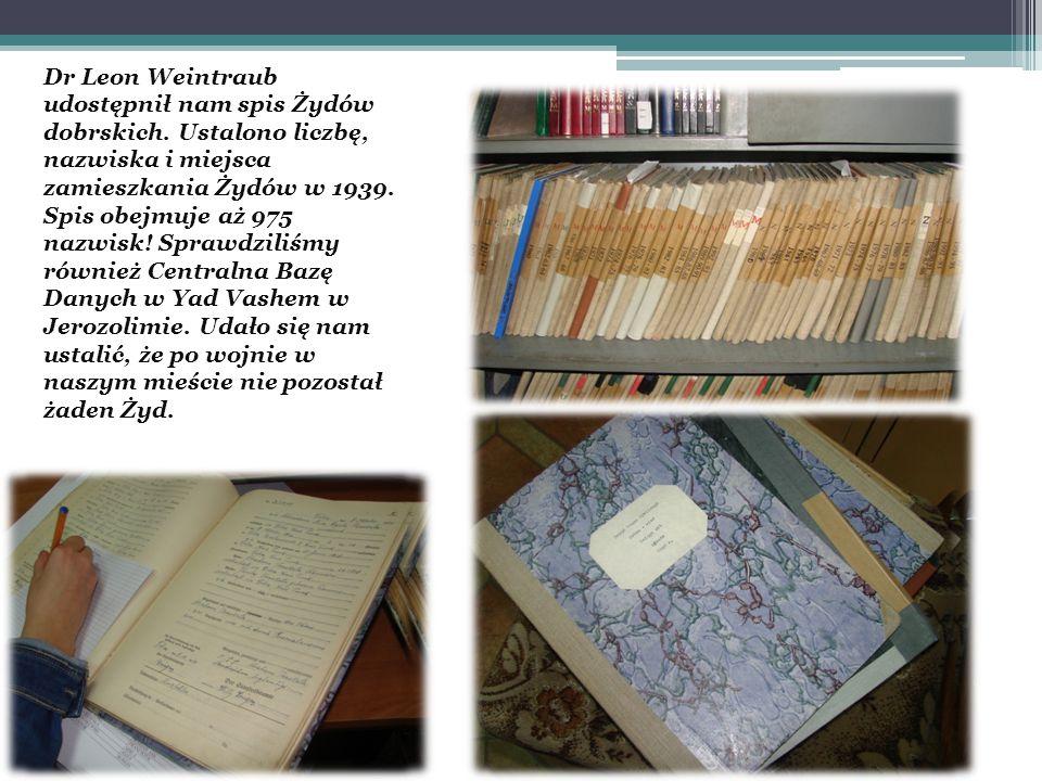 Dr Leon Weintraub udostępnił nam spis Żydów dobrskich.