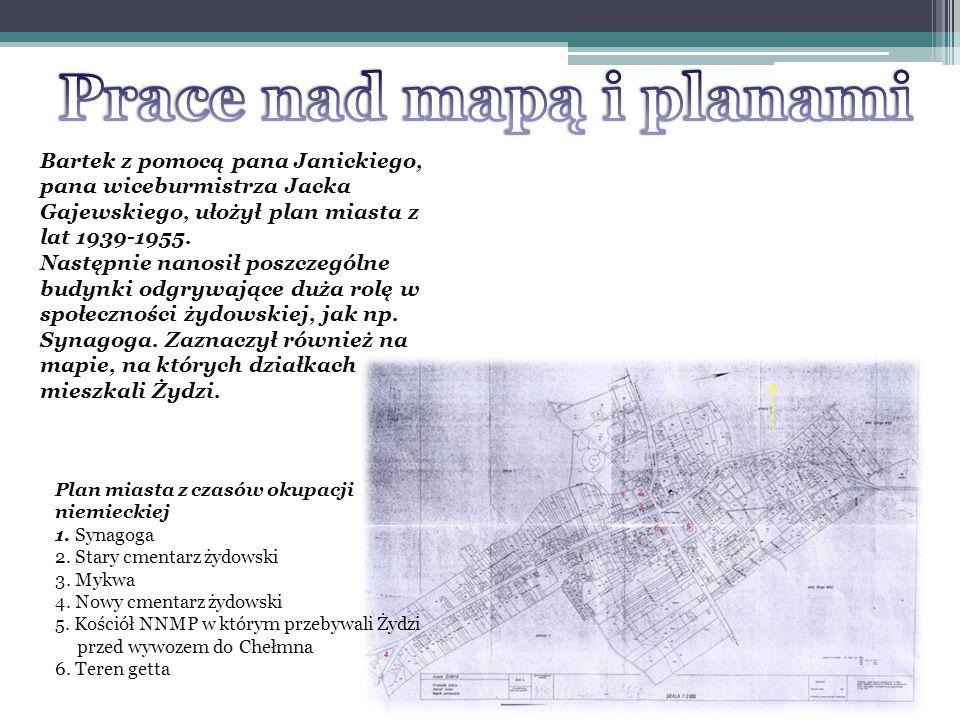 Kolorem czerwonym i niebieskim na planie miasta zaznaczono część działek, które należały do Żydów.