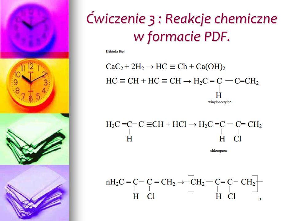 Ćwiczenie 3 : Reakcje chemiczne w formacie PDF.