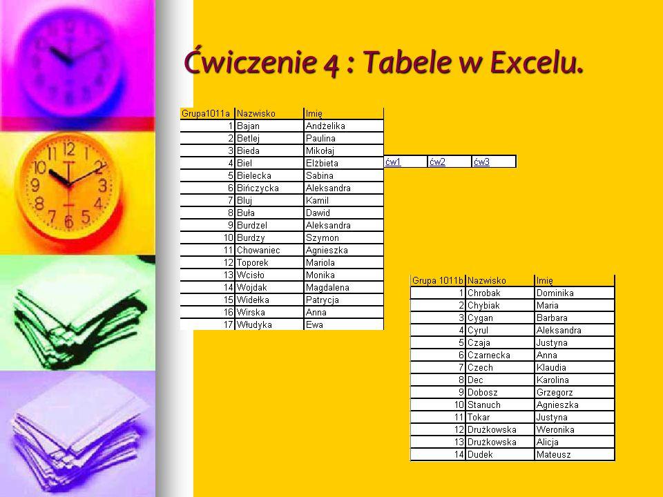 Ćwiczenie 4 : Tabele w Excelu.