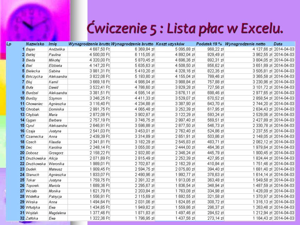 Ćwiczenie 5: Dane i wynik z tabeli.