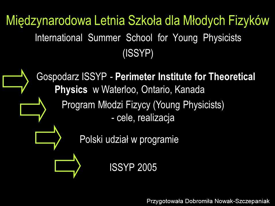 Międzynarodowa Letnia Szkoła dla Młodych Fizyków International Summer School for Young Physicists (ISSYP) Przygotowała Dobromiła Nowak-Szczepaniak Gos