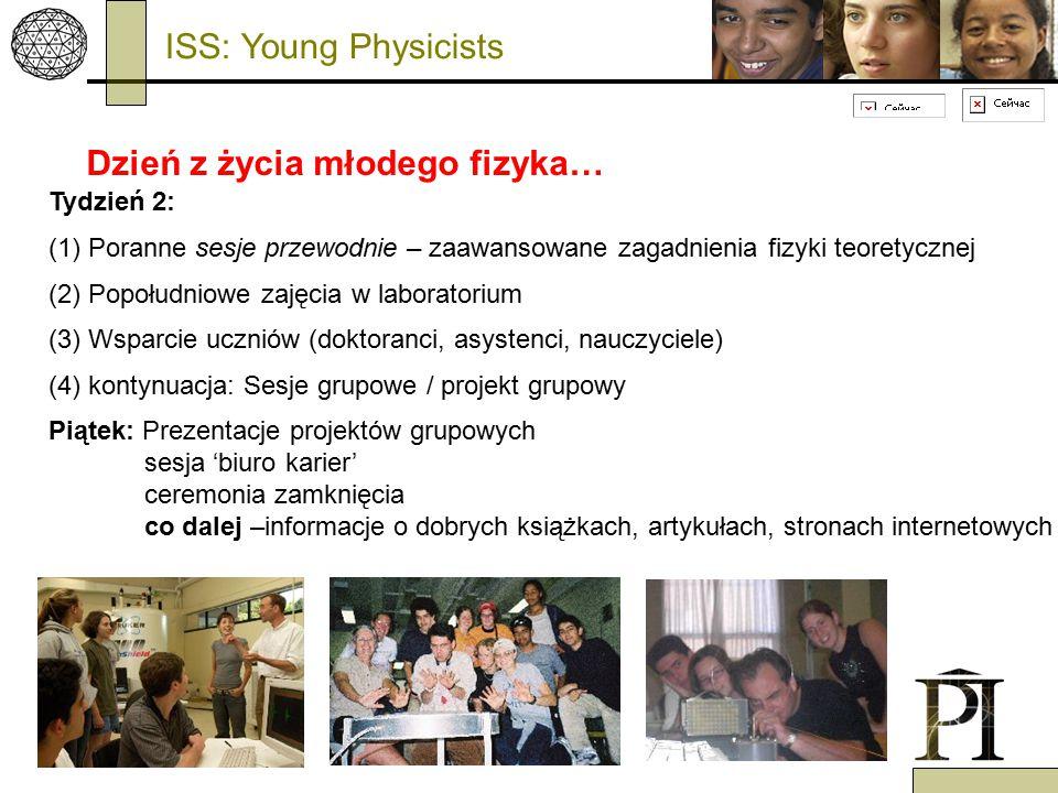 Dzień z życia młodego fizyka… Tydzień 2: (1) Poranne sesje przewodnie – zaawansowane zagadnienia fizyki teoretycznej (2) Popołudniowe zajęcia w laboratorium (3) Wsparcie uczniów (doktoranci, asystenci, nauczyciele) (4) kontynuacja: Sesje grupowe / projekt grupowy Piątek: Prezentacje projektów grupowych sesja 'biuro karier' ceremonia zamknięcia co dalej –informacje o dobrych książkach, artykułach, stronach internetowych ISS: Young Physicists