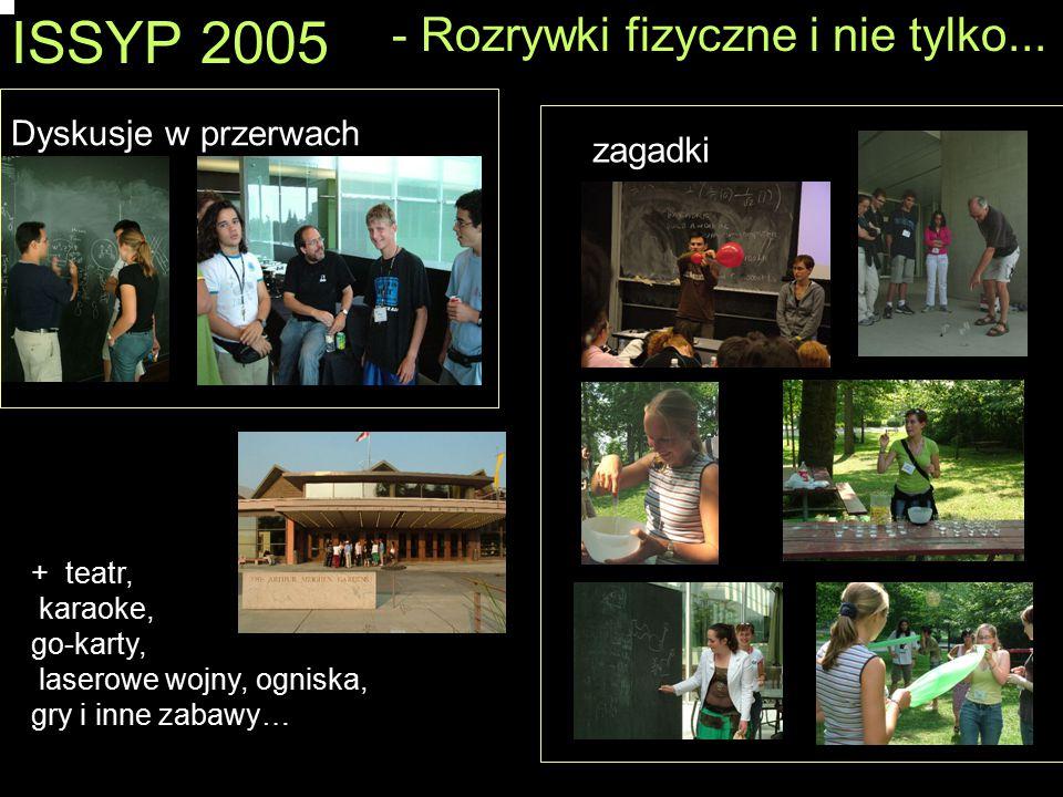ISSYP 2005 - Rozrywki fizyczne i nie tylko... Dyskusje w przerwach zagadki + teatr, karaoke, go-karty, laserowe wojny, ogniska, gry i inne zabawy…
