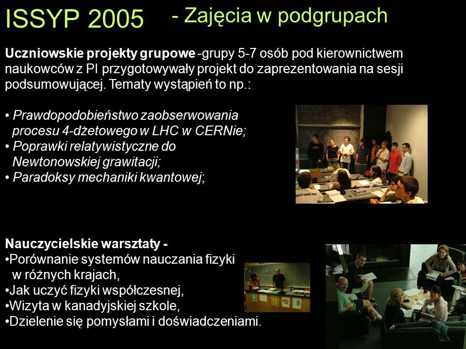 ISSYP 2005 Uczniowskie projekty grupowe -grupy 5-7 osób pod kierownictwem naukowców z PI przygotowywały projekt do zaprezentowania na sesji podsumowuj