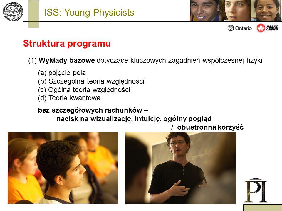 (1) Wykłady bazowe dotyczące kluczowych zagadnień współczesnej fizyki (a) pojęcie pola (b) Szczególna teoria względności (c) Ogólna teoria względności (d) Teoria kwantowa bez szczegółowych rachunków – nacisk na wizualizację, intuicję, ogólny pogląd / obustronna korzyść ISS: Young Physicists Struktura programu