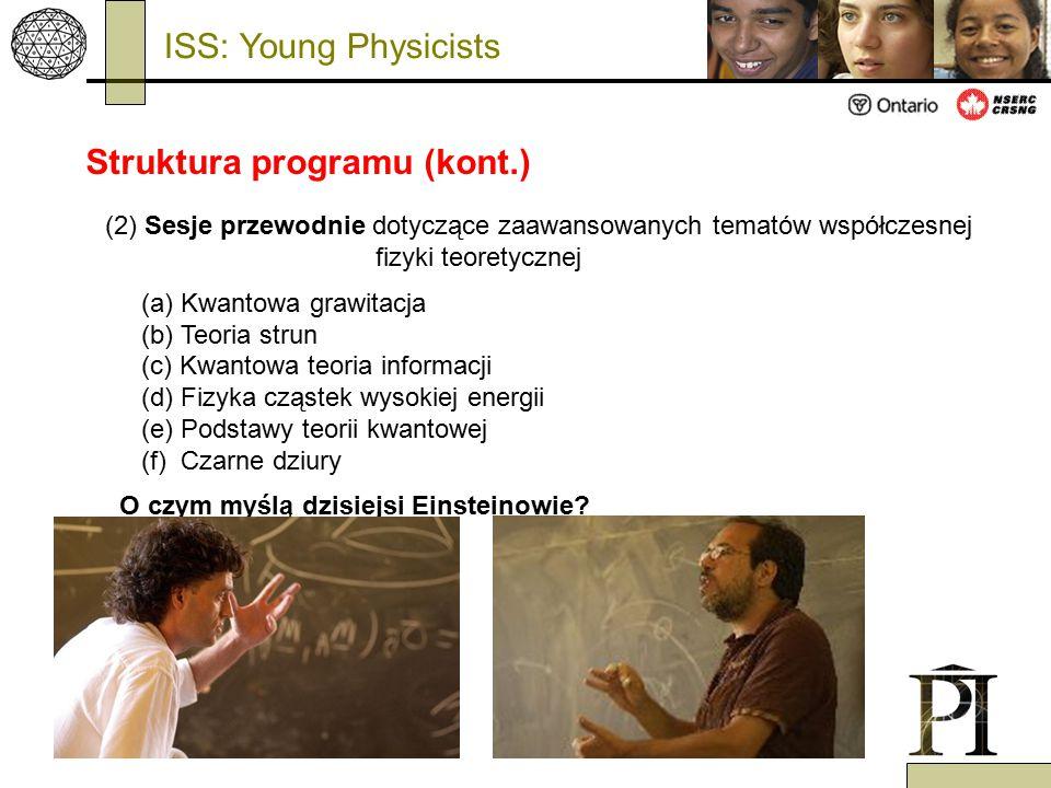 (2) Sesje przewodnie dotyczące zaawansowanych tematów współczesnej fizyki teoretycznej (a) Kwantowa grawitacja (b) Teoria strun (c) Kwantowa teoria in