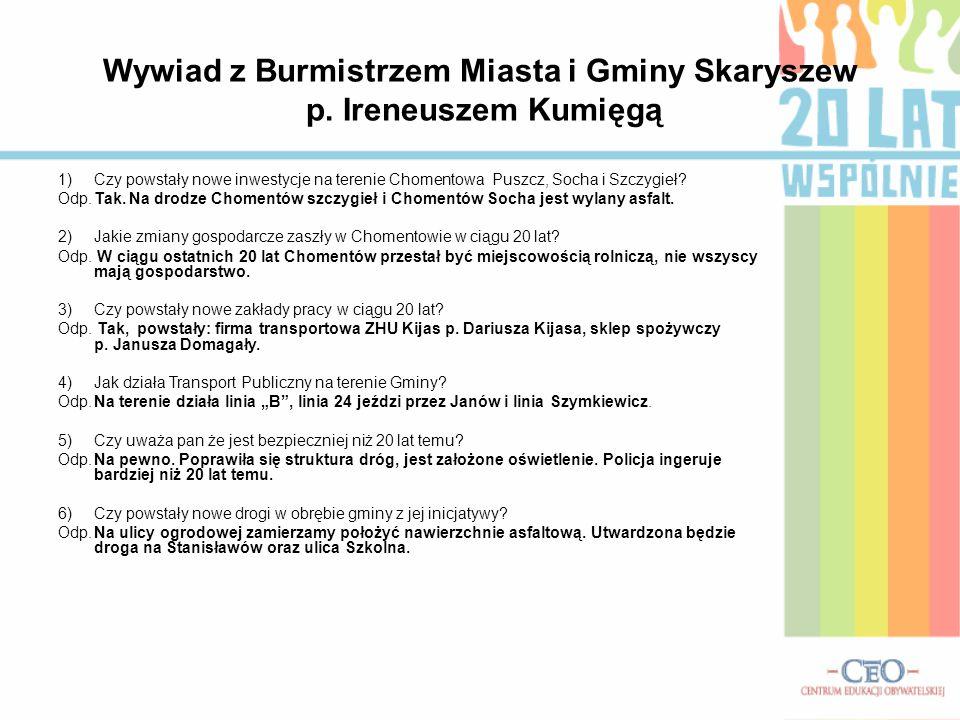 Publiczne Gimnazjum Nr 1 w Skaryszewie Chomentów Puszcz 20 lat Samorządu w gminie Skaryszew Miasto i Gmina Skaryszew