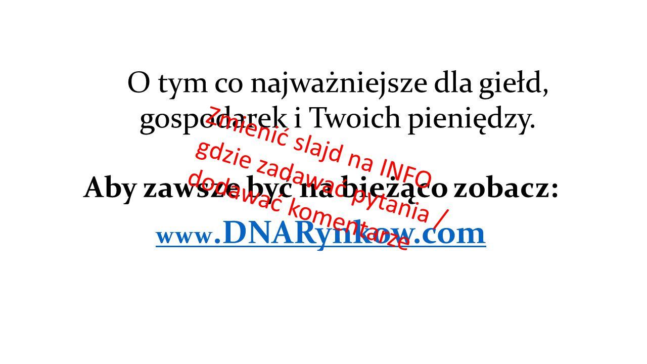 O tym co najważniejsze dla giełd, gospodarek i Twoich pieniędzy. Aby zawsze być na bieżąco zobacz: www.DNARynkow.com Zmienić slajd na INFO gdzie zadaw