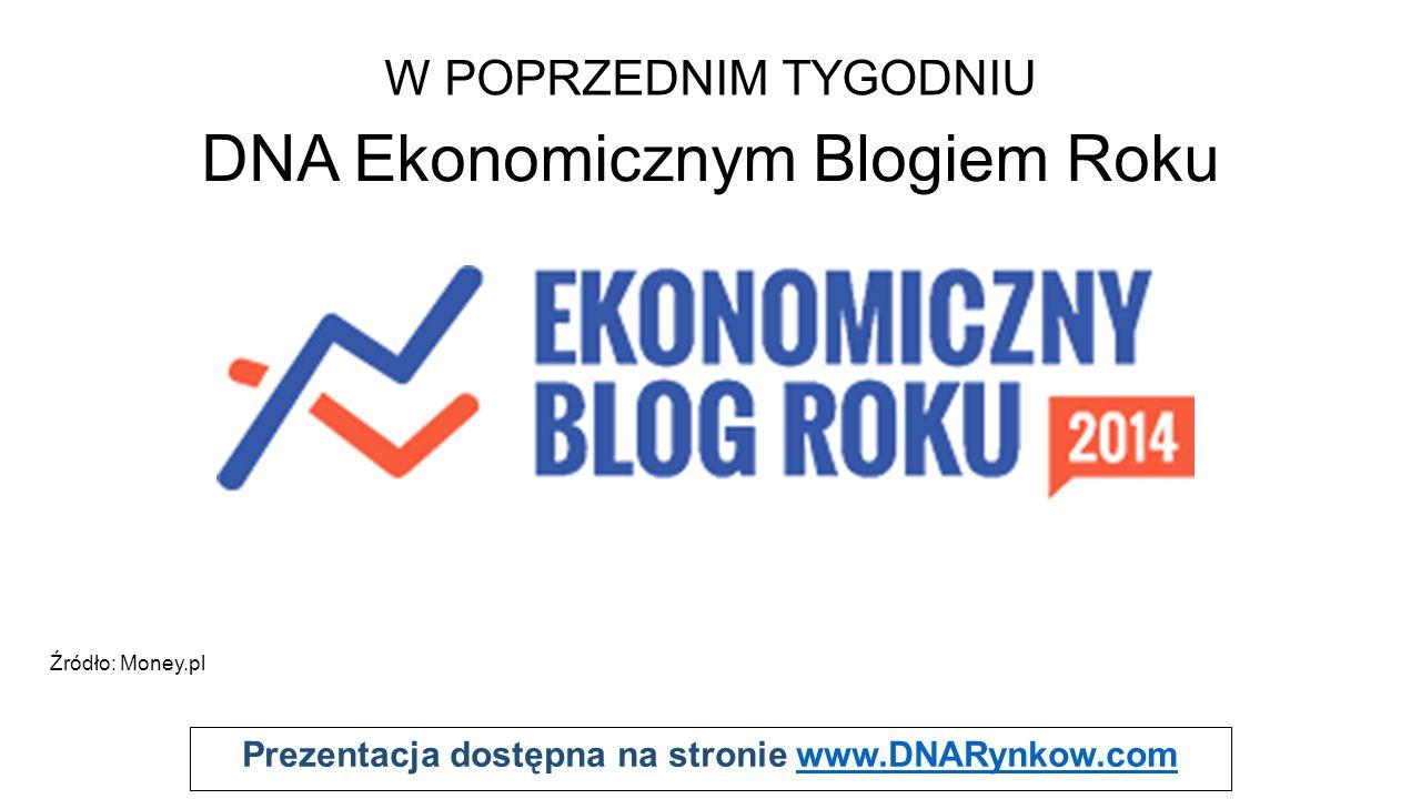 Prezentacja dostępna na stronie www.DNARynkow.comwww.DNARynkow.com W POPRZEDNIM TYGODNIU DNA Ekonomicznym Blogiem Roku Źródło: Money.pl