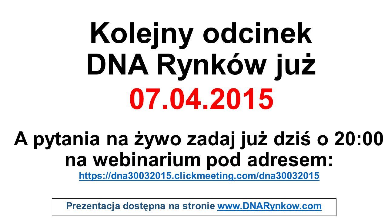 Prezentacja dostępna na stronie www.DNARynkow.comwww.DNARynkow.com Kolejny odcinek DNA Rynków już A pytania na żywo zadaj już dziś o 20:00 na webinari