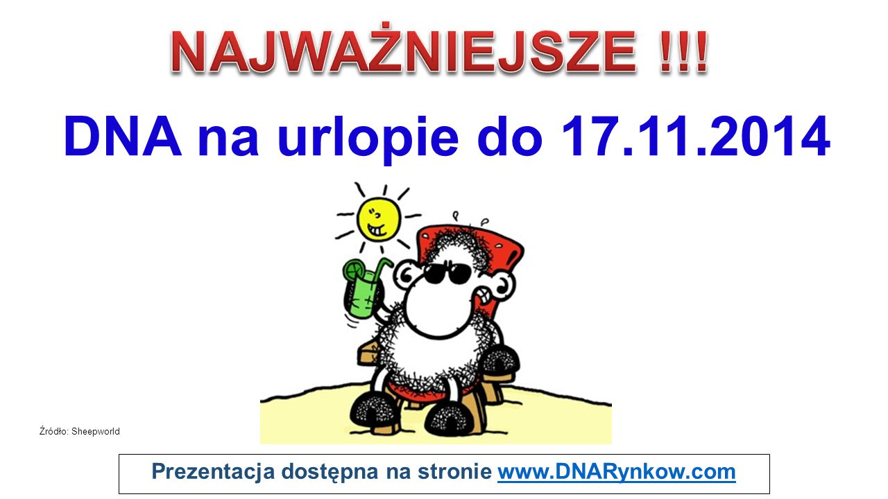 Prezentacja dostępna na stronie www.DNARynkow.comwww.DNARynkow.com DNA na urlopie do 17.11.2014 Źródło: Sheepworld