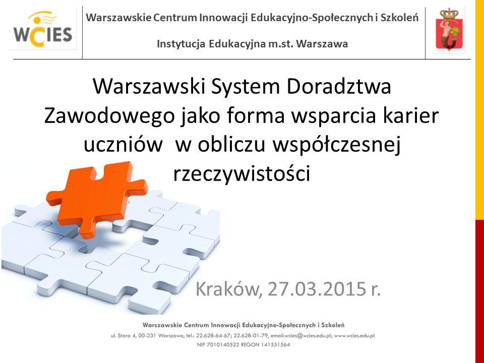 Warszawskie Centrum Innowacji Edukacyjno-Społecznych i Szkoleń Instytucja Edukacyjna m.st. Warszawa Warszawski System Doradztwa Zawodowego jako forma