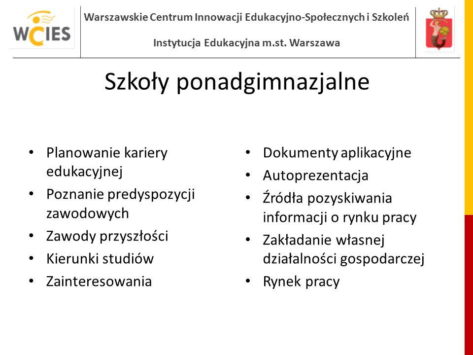 Warszawskie Centrum Innowacji Edukacyjno-Społecznych i Szkoleń Instytucja Edukacyjna m.st. Warszawa Szkoły ponadgimnazjalne Planowanie kariery edukacy