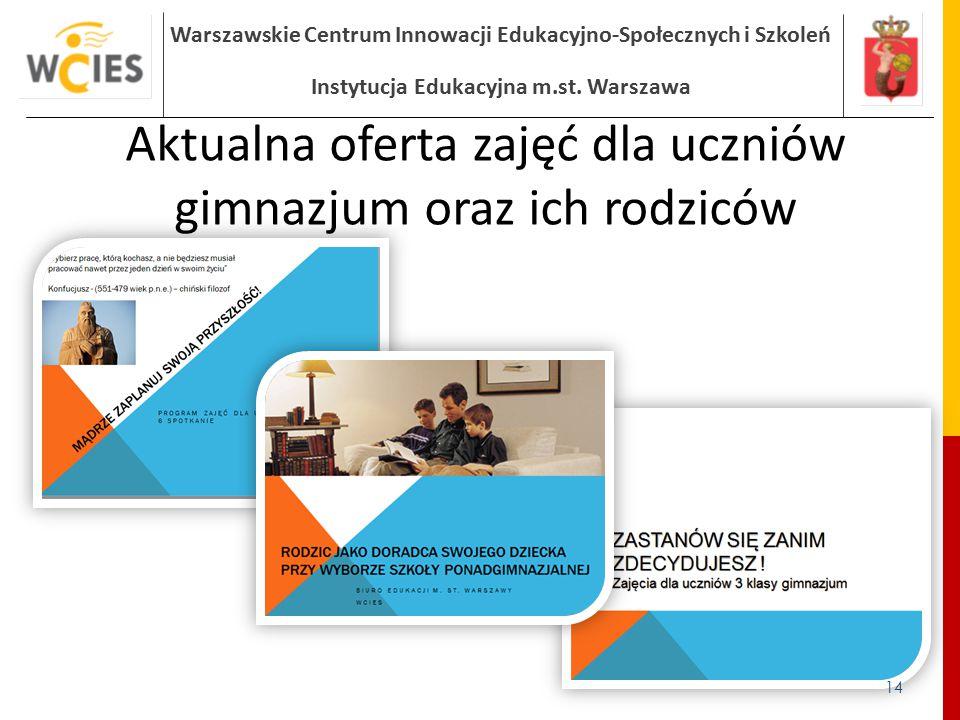 Warszawskie Centrum Innowacji Edukacyjno-Społecznych i Szkoleń Instytucja Edukacyjna m.st. Warszawa Aktualna oferta zajęć dla uczniów gimnazjum oraz i