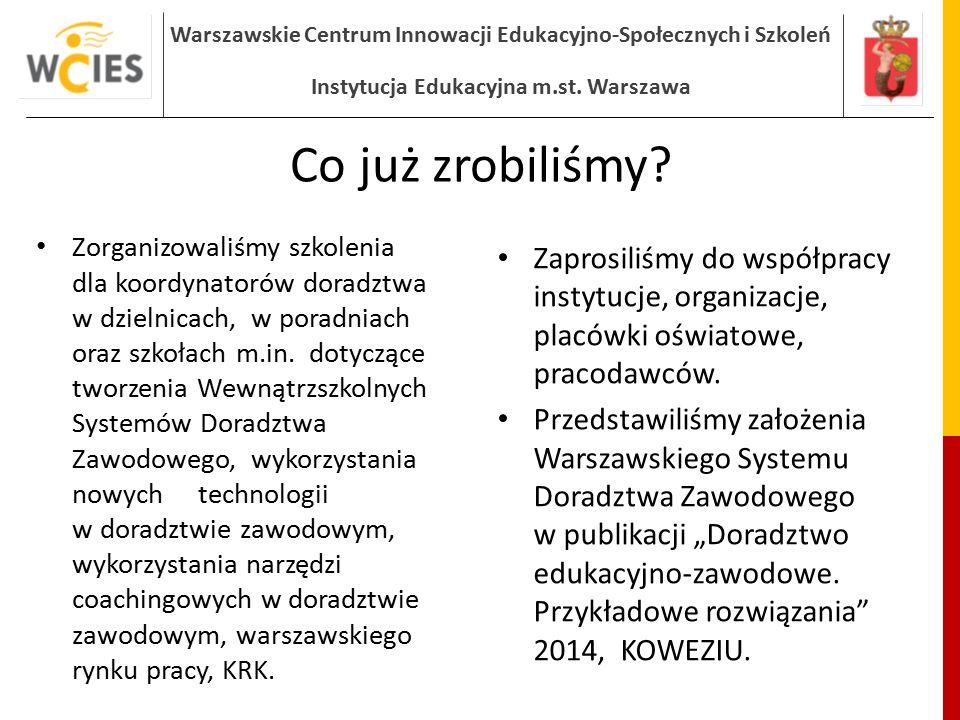 Warszawskie Centrum Innowacji Edukacyjno-Społecznych i Szkoleń Instytucja Edukacyjna m.st. Warszawa Co już zrobiliśmy? Zorganizowaliśmy szkolenia dla