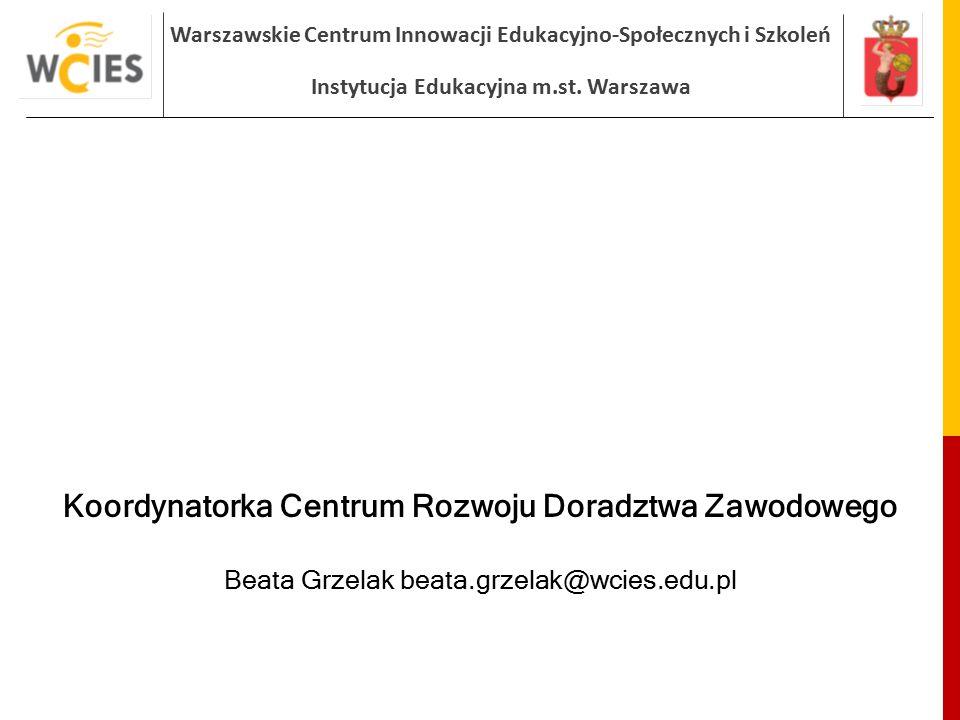 Warszawskie Centrum Innowacji Edukacyjno-Społecznych i Szkoleń Instytucja Edukacyjna m.st. Warszawa Koordynatorka Centrum Rozwoju Doradztwa Zawodowego