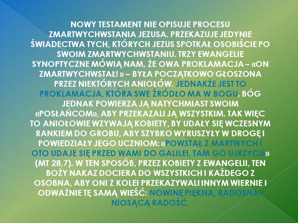 NOWY TESTAMENT NIE OPISUJE PROCESU ZMARTWYCHWSTANIA JEZUSA.