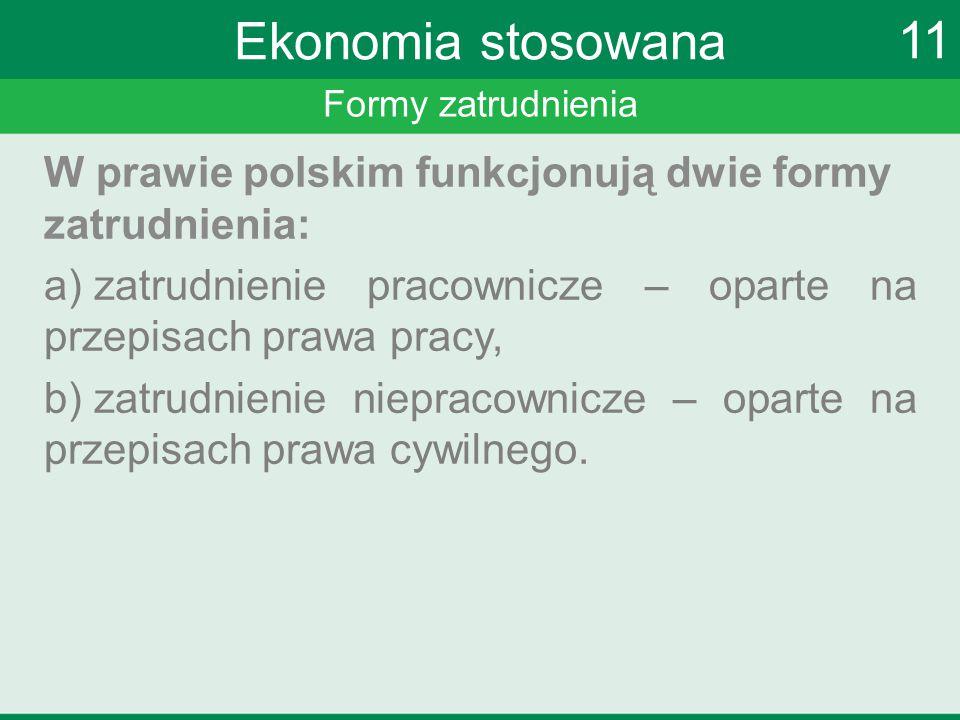 Formy zatrudnienia W prawie polskim funkcjonują dwie formy zatrudnienia: a) zatrudnienie pracownicze – oparte na przepisach prawa pracy, b) zatrudnien