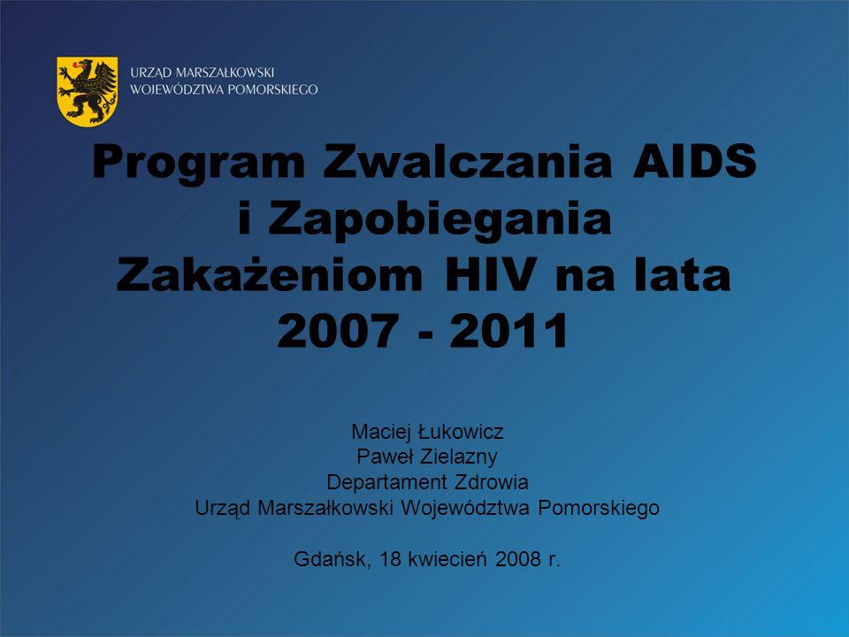 Województwo Pomorskie 2,2 mln ludności Epidemiologia zakażeń HIV Od wdrożenia badań do końca roku 2007 zanotowano 874 zakażenia Szacuje się że zakażonych jest ok.
