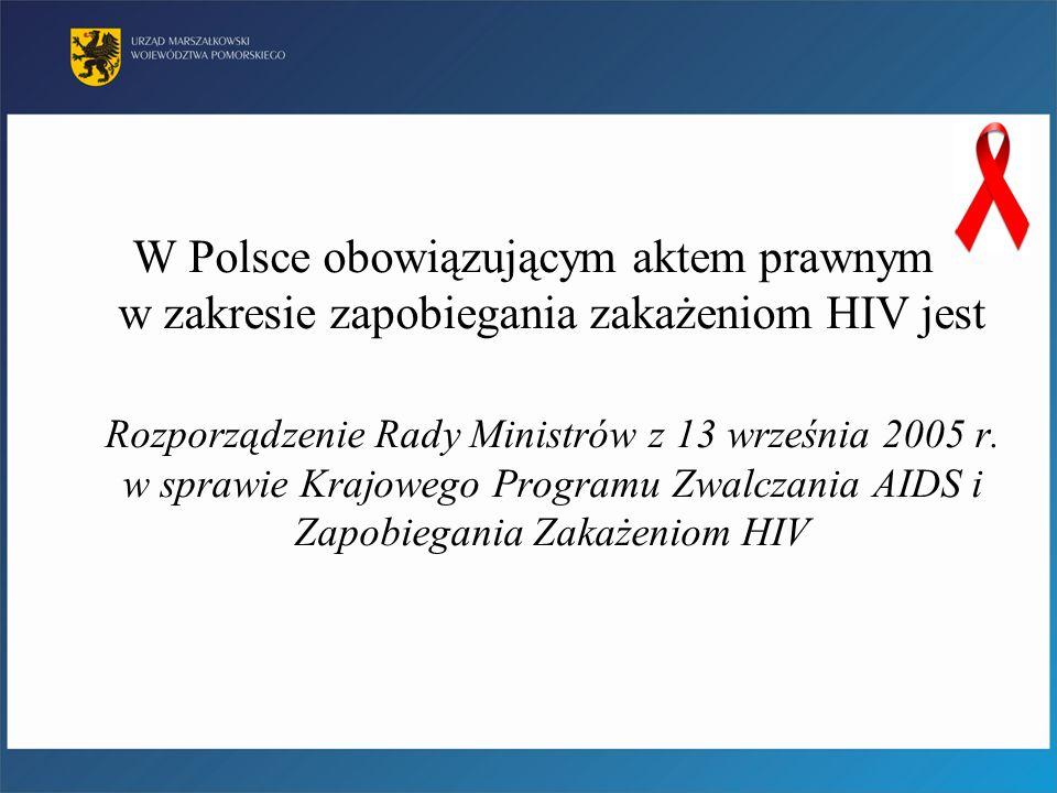 W Polsce obowiązującym aktem prawnym w zakresie zapobiegania zakażeniom HIV jest Rozporządzenie Rady Ministrów z 13 września 2005 r. w sprawie Krajowe