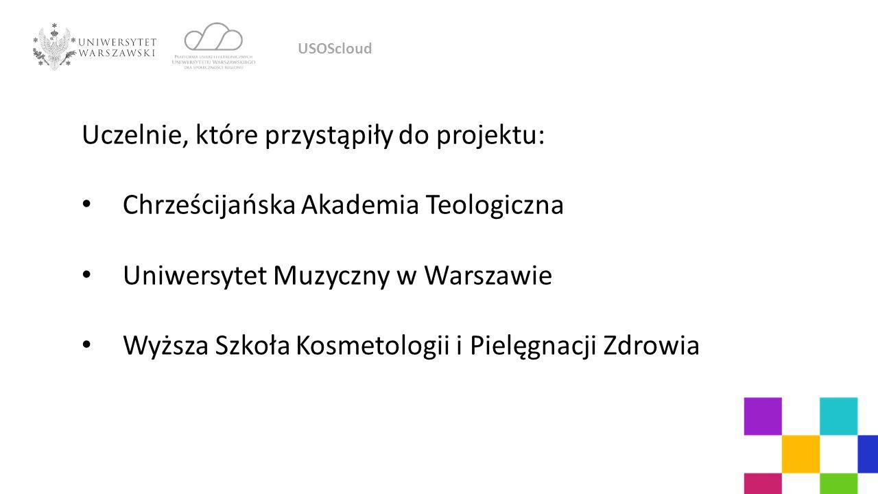 Uczelnie, które przystąpiły do projektu: Chrześcijańska Akademia Teologiczna Uniwersytet Muzyczny w Warszawie Wyższa Szkoła Kosmetologii i Pielęgnacji Zdrowia USOScloud