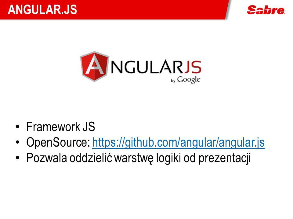 ANGULAR.JS Framework JS OpenSource: https://github.com/angular/angular.jshttps://github.com/angular/angular.js Pozwala oddzielić warstwę logiki od pre