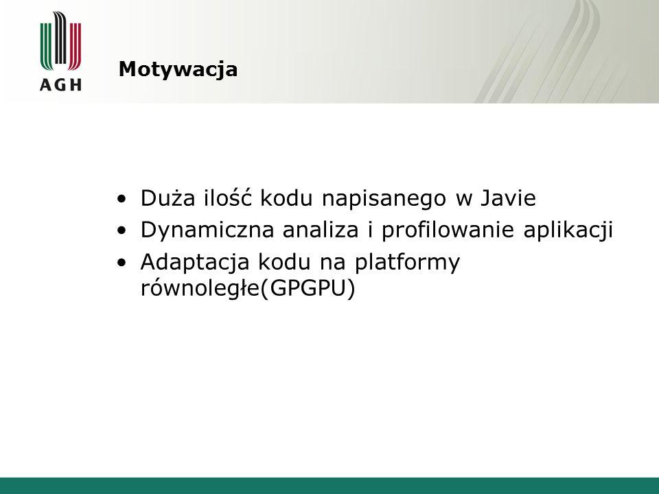 Motywacja Duża ilość kodu napisanego w Javie Dynamiczna analiza i profilowanie aplikacji Adaptacja kodu na platformy równoległe(GPGPU)
