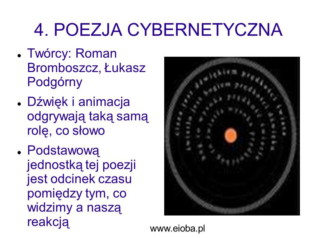 4. POEZJA CYBERNETYCZNA Twórcy: Roman Bromboszcz, Łukasz Podgórny Dźwięk i animacja odgrywają taką samą rolę, co słowo Podstawową jednostką tej poezji