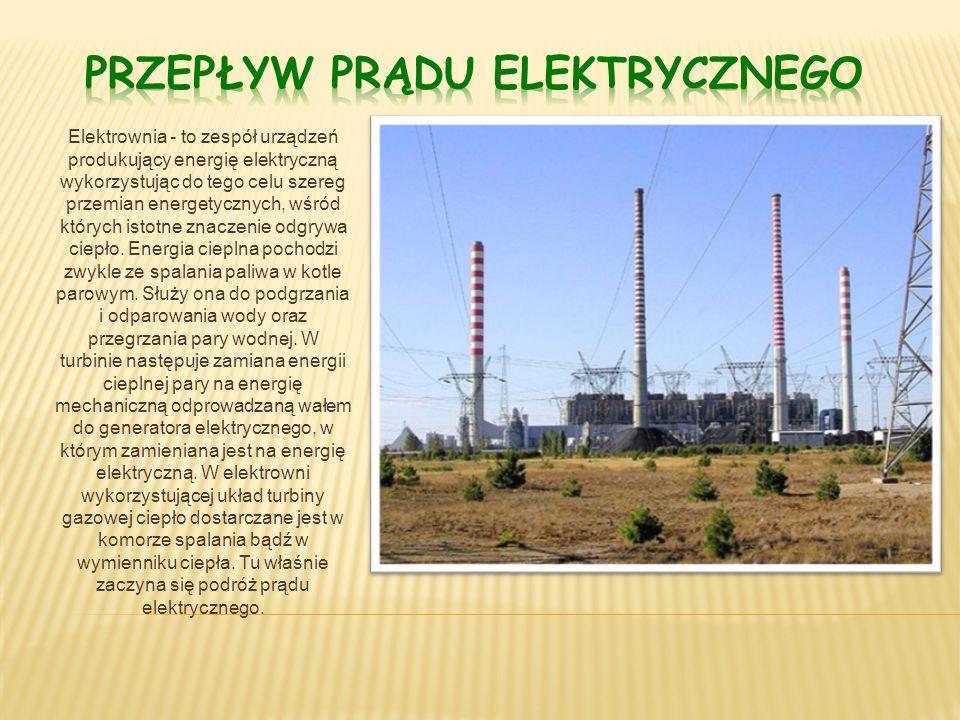 Elektrownia - to zespół urządzeń produkujący energię elektryczną wykorzystując do tego celu szereg przemian energetycznych, wśród których istotne znaczenie odgrywa ciepło.