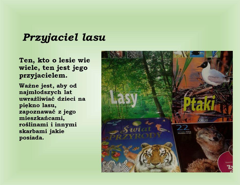 Przyjaciel lasu Ten, kto o lesie wie wiele, ten jest jego przyjacielem. Ważne jest, aby od najmłodszych lat uwrażliwiać dzieci na piękno lasu, zapozna