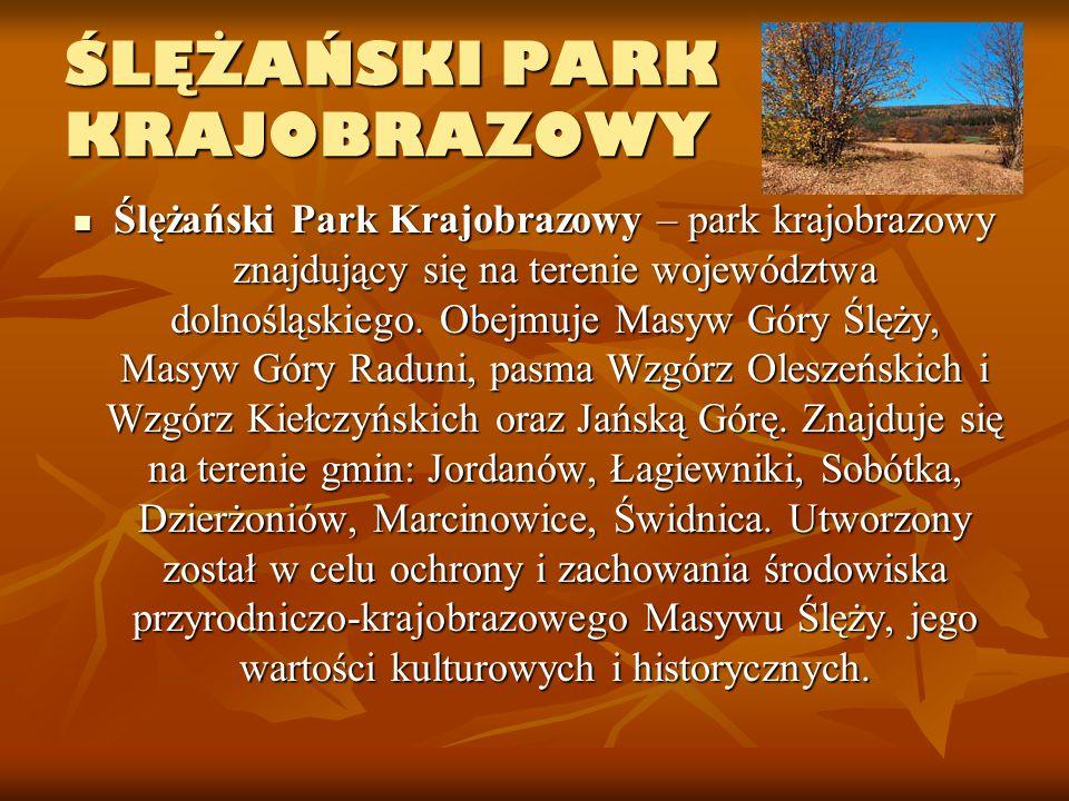 ŚLĘŻAŃSKI PARK KRAJOBRAZOWY Ślężański Park Krajobrazowy – park krajobrazowy znajdujący się na terenie województwa dolnośląskiego. Obejmuje Masyw Góry