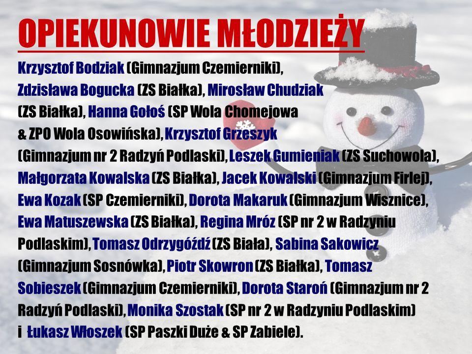 OPIEKUNOWIE MŁODZIEŻY Krzysztof Bodziak (Gimnazjum Czemierniki), Zdzisława Bogucka (ZS Białka), Mirosław Chudziak (ZS Białka), Hanna Gołoś (SP Wola Chomejowa & ZPO Wola Osowińska), Krzysztof Grzeszyk (Gimnazjum nr 2 Radzyń Podlaski), Leszek Gumieniak (ZS Suchowola), Małgorzata Kowalska (ZS Białka), Jacek Kowalski (Gimnazjum Firlej), Ewa Kozak (SP Czemierniki), Dorota Makaruk (Gimnazjum Wisznice), Ewa Matuszewska (ZS Białka), Regina Mróz (SP nr 2 w Radzyniu Podlaskim), Tomasz Odrzygóźdź (ZS Biała), Sabina Sakowicz (Gimnazjum Sosnówka), Piotr Skowron (ZS Białka), Tomasz Sobieszek (Gimnazjum Czemierniki), Dorota Staroń (Gimnazjum nr 2 Radzyń Podlaski), Monika Szostak (SP nr 2 w Radzyniu Podlaskim) i Łukasz Włoszek (SP Paszki Duże & SP Zabiele).