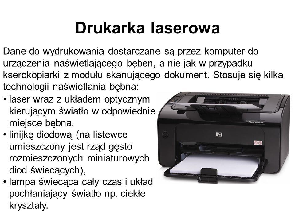Drukarka laserowa Dane do wydrukowania dostarczane są przez komputer do urządzenia naświetlającego bęben, a nie jak w przypadku kserokopiarki z modułu