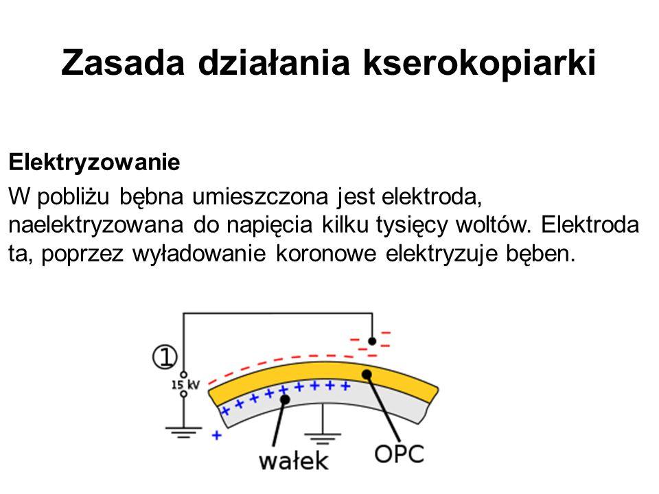 Zasada działania kserokopiarki Elektryzowanie W pobliżu bębna umieszczona jest elektroda, naelektryzowana do napięcia kilku tysięcy woltów. Elektroda
