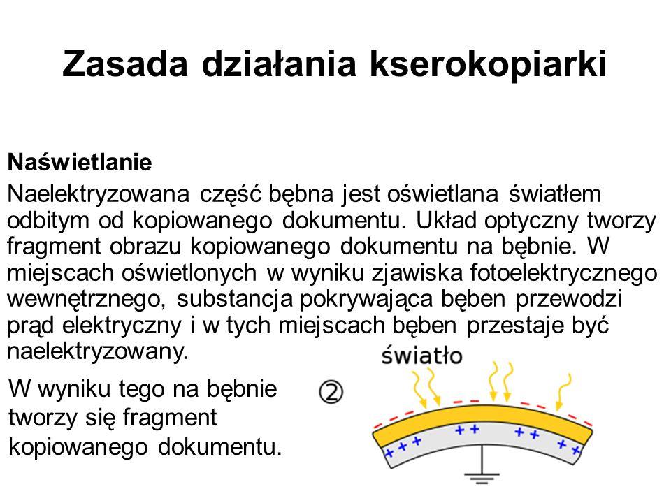Zasada działania kserokopiarki Naświetlanie Naelektryzowana część bębna jest oświetlana światłem odbitym od kopiowanego dokumentu. Układ optyczny twor