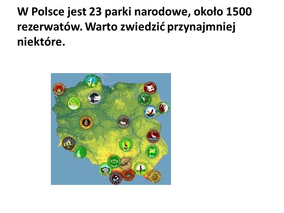 W Polsce jest 23 parki narodowe, około 1500 rezerwatów. Warto zwiedzić przynajmniej niektóre.