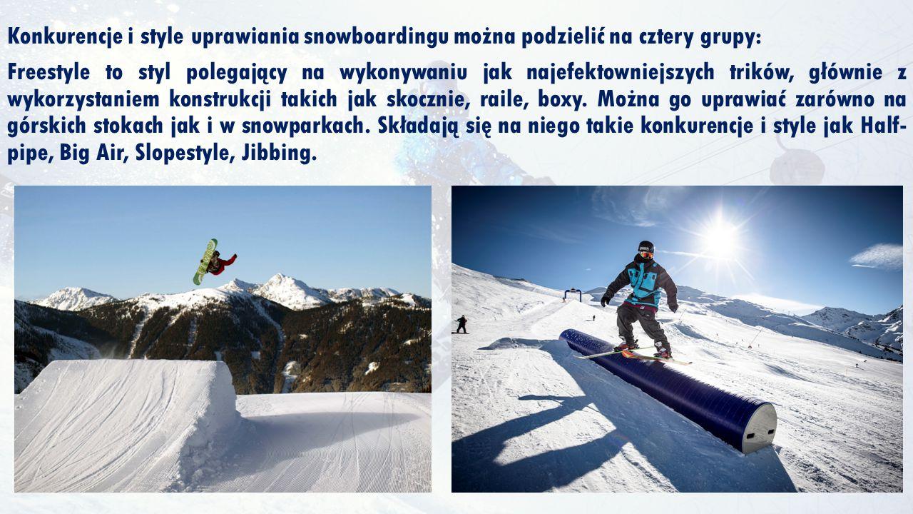 Konkurencje i style uprawiania snowboardingu można podzielić na cztery grupy: Freestyle to styl polegający na wykonywaniu jak najefektowniejszych trik